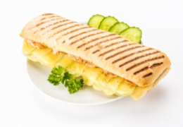 Panini with beef and Cheddar cheese