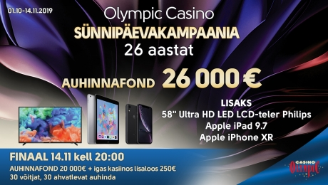 Olympic Casino sünnipäevakampaania - 26 aastat